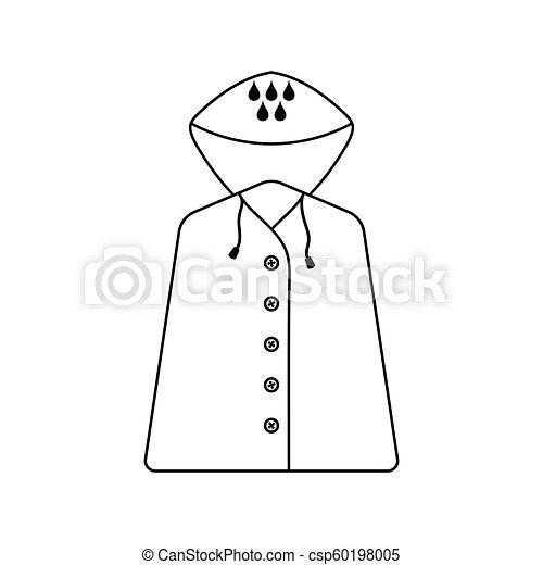 Icon Of Raincoat Thin Line Design Vector Illustration