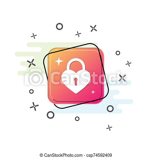 icon of the closed lock in the form of a heart. Purple square button. Flat design - csp74592409