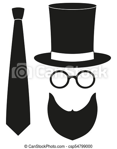 6bbccc4a Icon poster man father dad day avatar element set tall hat glasses beard,  beaver, tie silhouette. hipster holiday vector illustration for gift card  ...
