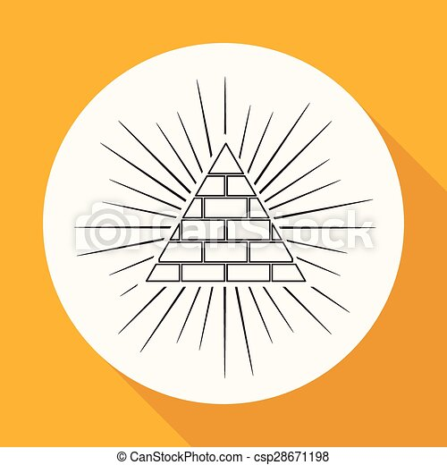 Icon Pyramid on white circle with a long shadow - csp28671198
