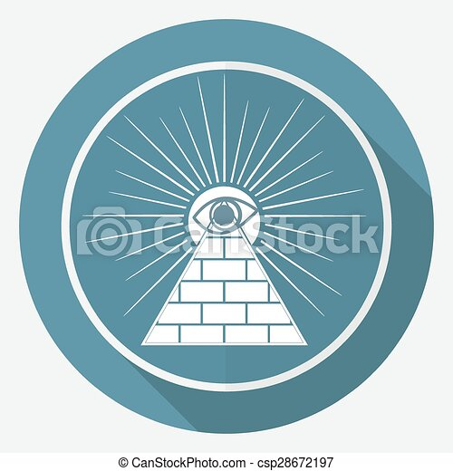 Icon Pyramid on white circle with a long shadow - csp28672197