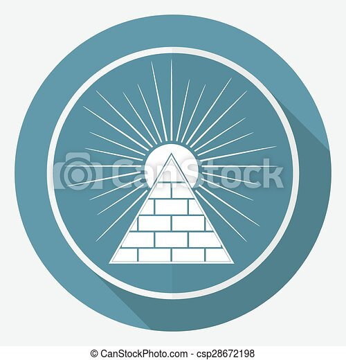 Icon Pyramid on white circle with a long shadow - csp28672198