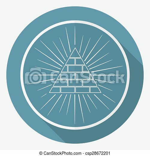 Icon Pyramid on white circle with a long shadow - csp28672201