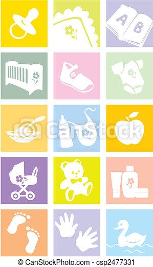 Icon set - baby goods, items. Illustration - csp2477331