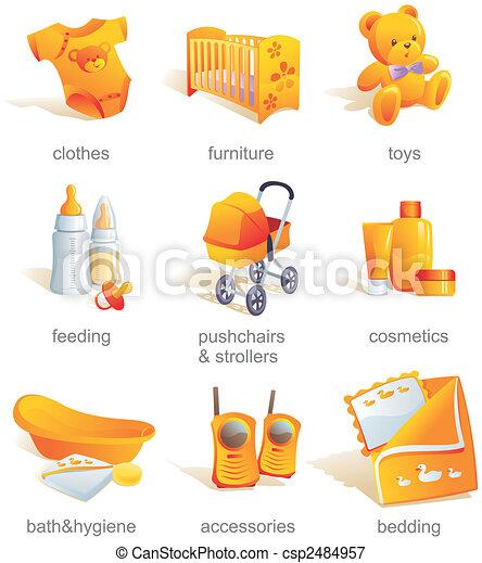 Icon set - baby goods, items - csp2484957