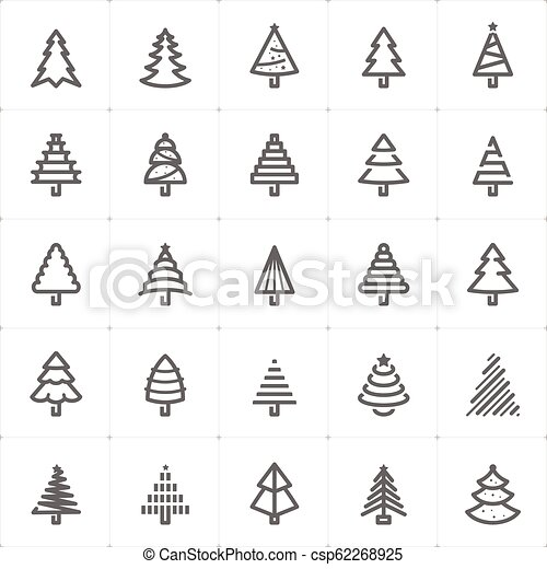 Icon Set Christmas Tree Outline Stroke Vector Illustration