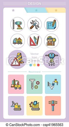 icon set construction vector - csp41965563