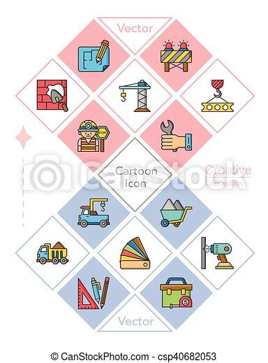 icon set construction vector - csp40682053