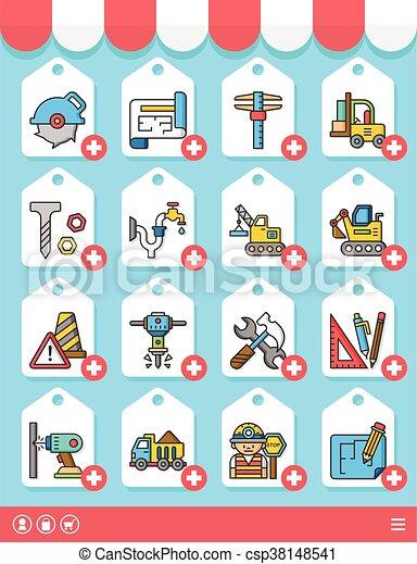 icon set construction vector - csp38148541