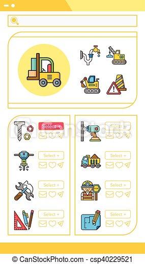 icon set construction vector - csp40229521