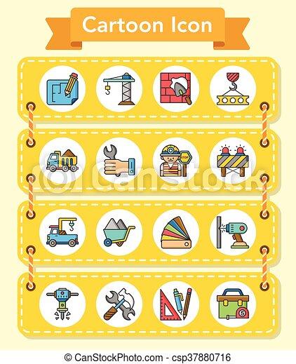 icon set construction vector - csp37880716