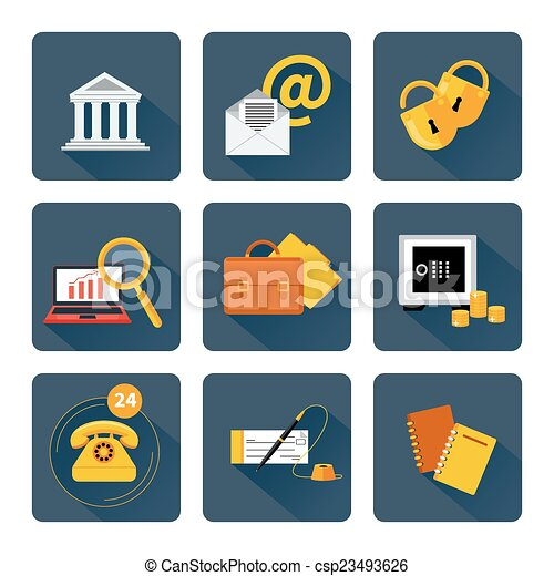 Icon set for finance and banking services - csp23493626