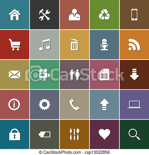 icon set in retro style - csp13022856
