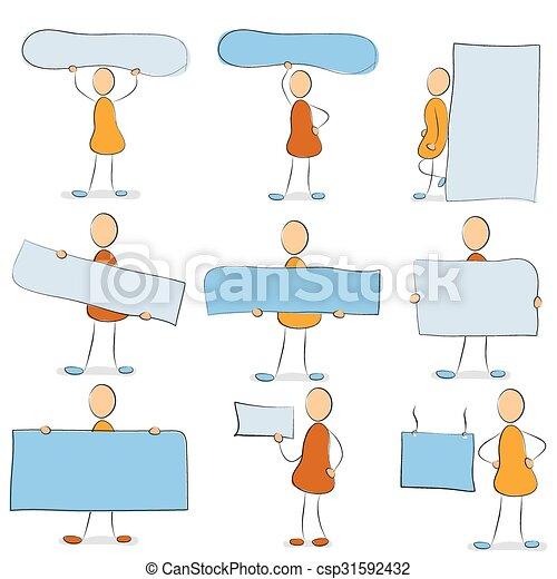Icon set - man with a sign - csp31592432