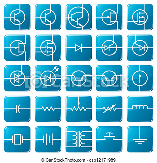 Icon Set Of Electrical Circuits Symbols Of Electronic Components