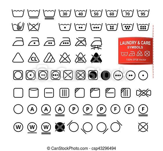 Icon Set Of Laundry And Care Symbols Icon Set Of Laundry Symbols In