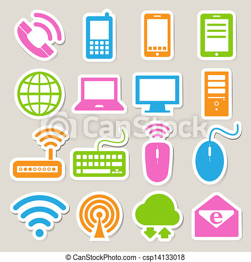 Icon set of mobile devices , computer and network connections. - csp14133018