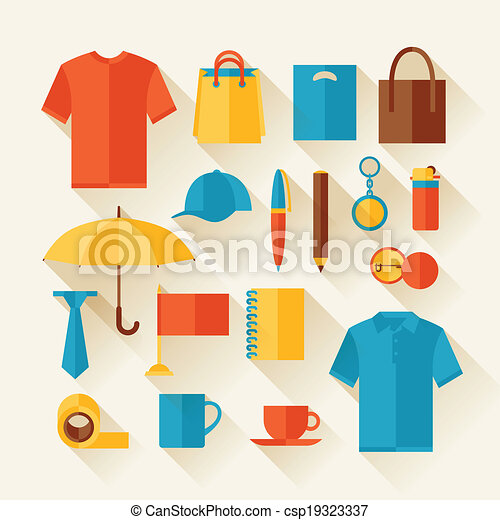 Icon set of promotional gifts and souvenirs. - csp19323337