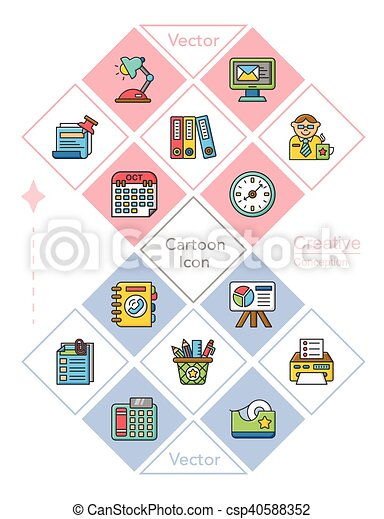 icon set office vector - csp40588352