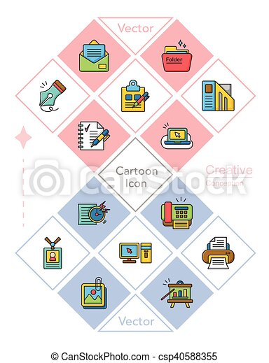 icon set office vector - csp40588355