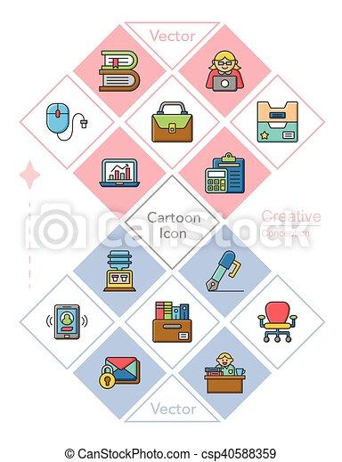 icon set office vector - csp40588359