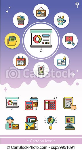 icon set office vector - csp39951891
