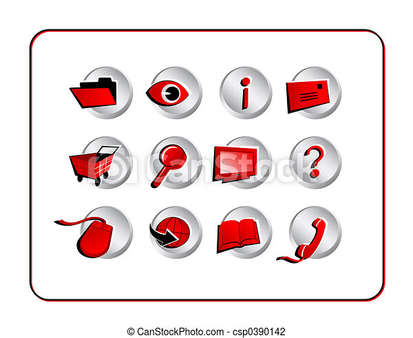 Icon Set with clipping paths - Red - csp0390142