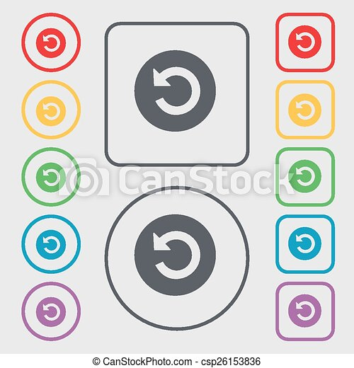 icon sign. symbol on the Round and square buttons with frame. Vector - csp26153836