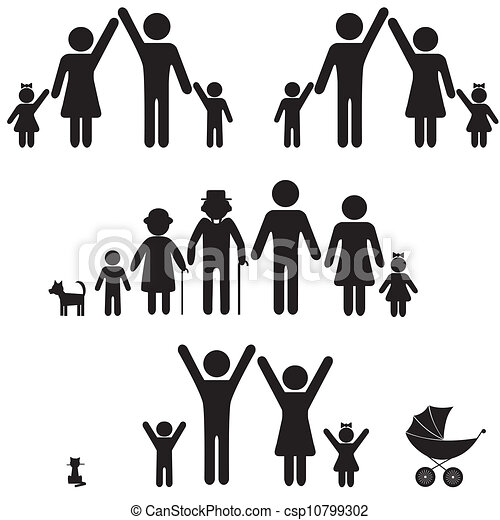 icon., silhouette, famille, gens - csp10799302