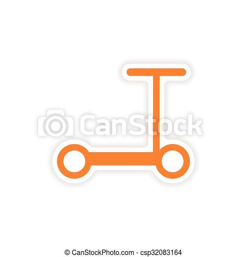 icon sticker realistic design on paper scooter