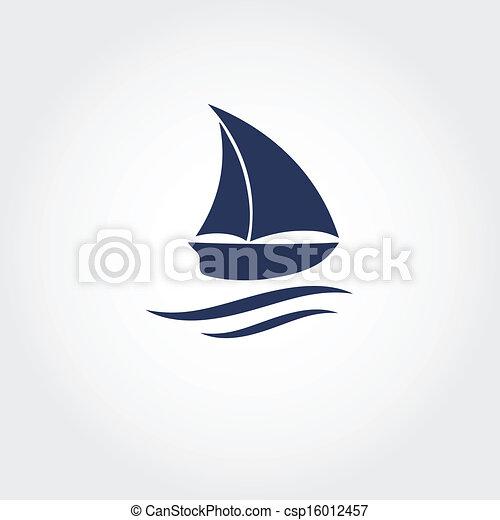 icon., vector, barco, ilustración - csp16012457