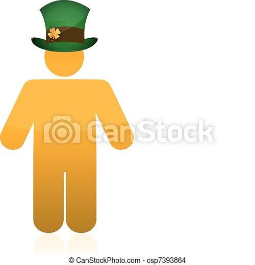 icon wearing a irish green hat - csp7393864
