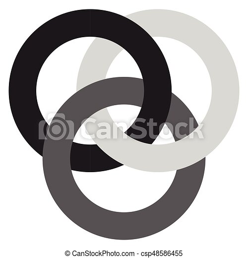 Icon With 3 Interlocking Circles Rings Abstract Symbol For