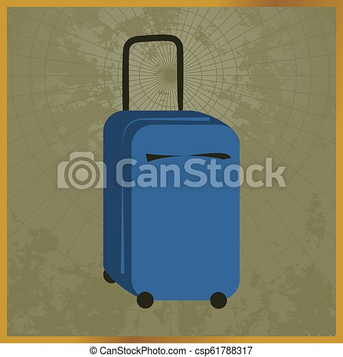 Icon with a blue suitcase field map - csp61788317