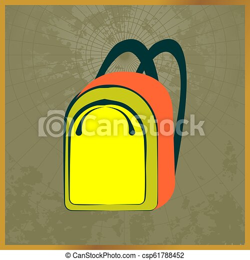 Icon with a yellow backpack field map - csp61788452