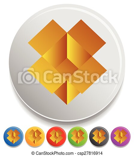 Icon With Brown Open Box Symbol 7 Colors