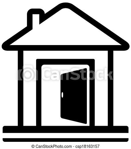open door drawing. Icon With Door Open And House - Csp18163157 Drawing