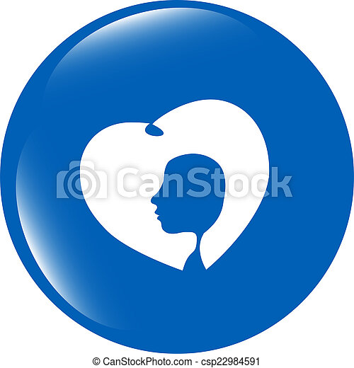icon with heart and woman head isolated on white background - csp22984591