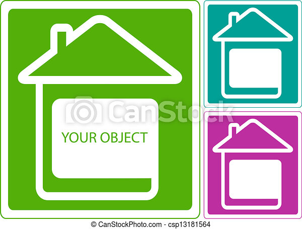 icon with home and white place - csp13181564