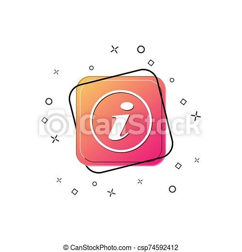 Icon with white letter i. Purple square button. Flat design - csp74592412