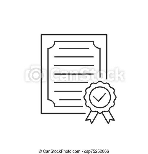 icona, approvato, fondo, linea bianca, certificato - csp75252066