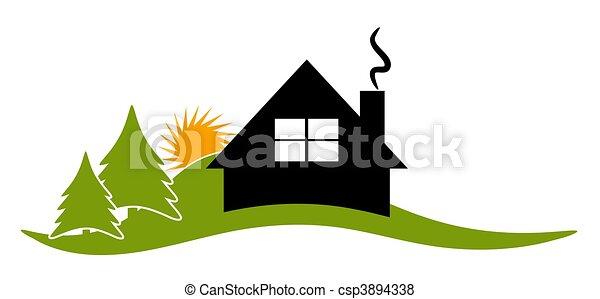 icona, logotipo, cabina, casetta, casa - csp3894338