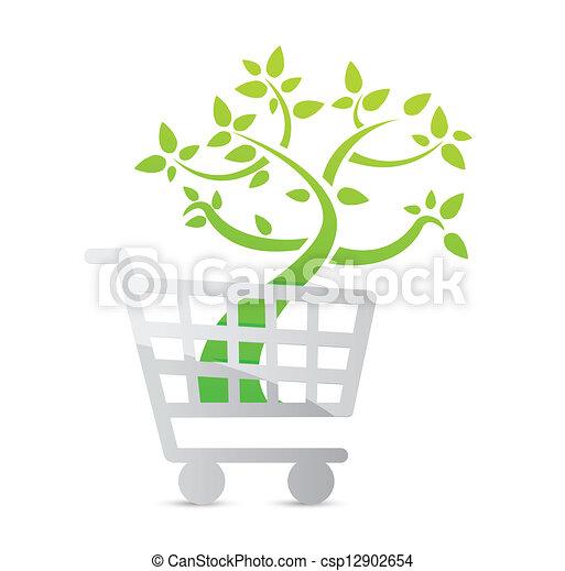 icona, shopping, concetto, organico, carrello - csp12902654