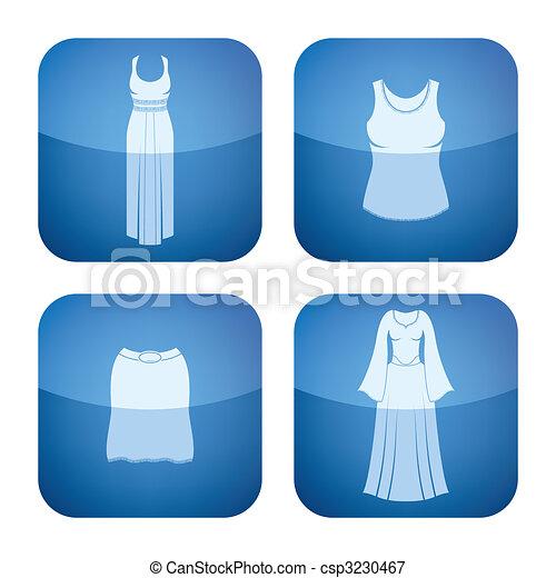 icone, 2d, quadrato, cobalto, abbigliamento, donna, set: - csp3230467