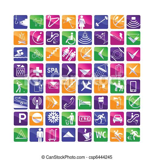 icone, 64, variopinto, albergo - csp6444245