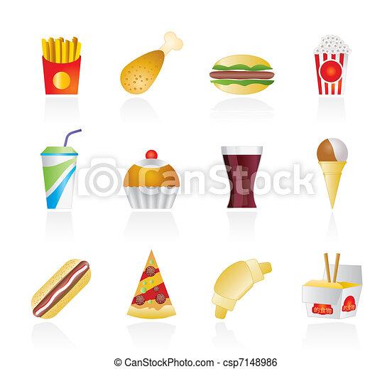 icone, cibo, digiuno, bevanda - csp7148986