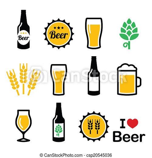 icone, colorito, set, birra, vettore - csp20545036