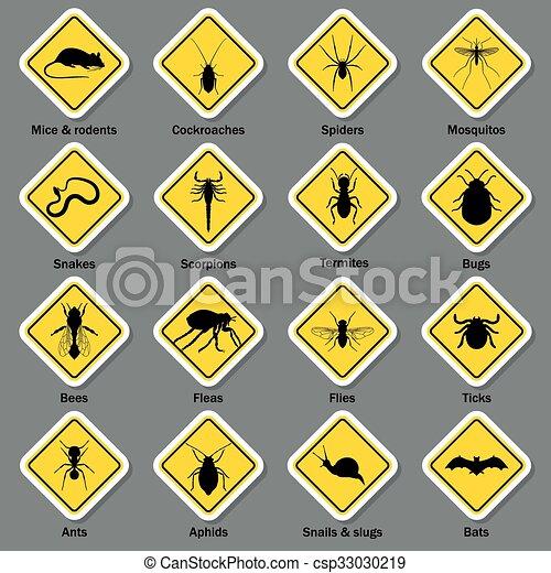 icone, controllo, peste, set., insetto - csp33030219