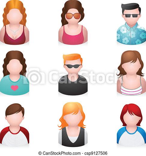 icone, -, giovanotti, persone, più - csp9127506