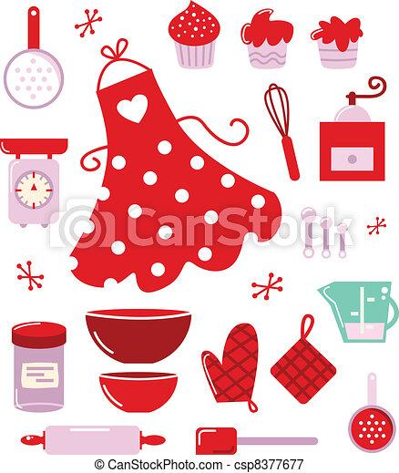 icone, isolato, casalinga, accessori, bianco, o - csp8377677
